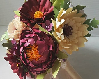 Paper Bouquet - Paper Flower Bouquet - Wedding Bouquet - Shades of Sangria - Custom Made - Any Color