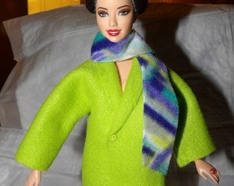 Short Fleece coat in lime green with attached geo print scarf for Fashion Dolls - ed873