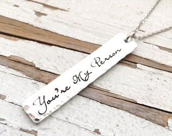 You're my person necklace hand stamped youre my person your my person you will alway be my person best bitches bff best friends