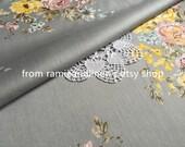 "fine cotton fabric, beautiful camellia print on grey, half yard by 54"" wide"