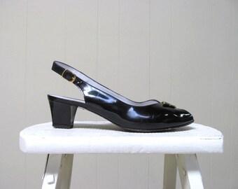 Vintage 1980s Shoes / 80s Bruno Magli Black Patent Leather Slingback Sandals / Size 9 B USA