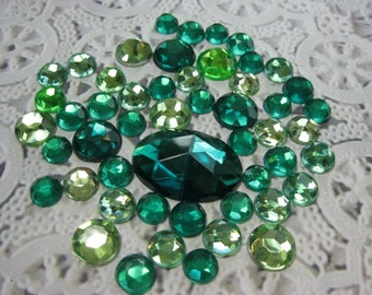 50 Flat Back Rhinestones Acrylic Gems for Scrapbooking Cards Mini Albums and Papercrafts Jewelry DIY
