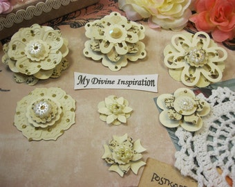 Ivory and Gold Wedding Paper Flowers, Scrapbook Paper Embellishments for Layouts Mini Albums Cards Tags Altered Art Papercrafts