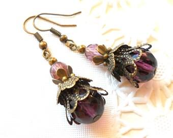purple dangle earrings purple victorian earrings dangle earrings brass earrings filigree earrings victorian style earrings beaded earrings