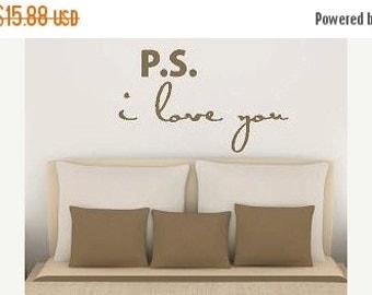15% OFF P.s.  I Love You - Vinyl Lettering wall words design bedroom graphics Home decor itswritteninvinyl