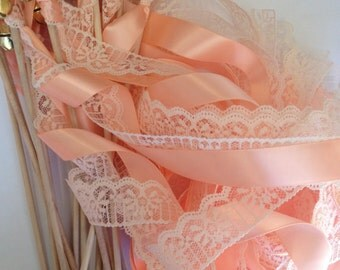 Wedding Wands Reception Set of 200 Ceremony Wood Fall Summer Handmade Bells Streamers Bubbles Pink Birthday Party Photo Prop Bride Groom