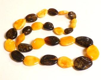 "Baltic Amber Jewelry Necklace Butterscotch Grey Raw Beads 20"" 25.6 gram"