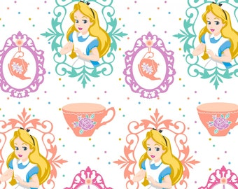Disney Alice and Teacups Cotton Fabric, 1 yard