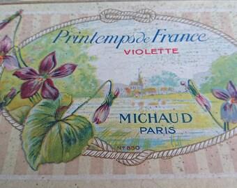 Beautiful antique French MICHAUD PARIS soap box c1910 Printemps de France Violette