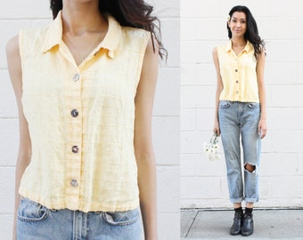 90s Yellow Cropped Button Down
