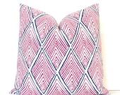 Pink Rhombus decorative Designer Pillow Cover Accent Throw Cushion geometric modern radiant orchid lattice diamonds fuschia fuchsia blue