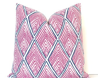 Pink Rhombus decorative Designer Pillow Cover Accent Throw Cushion geometric modern radiant orchid lattice diamonds fuschia fuchsia blue