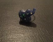 Dark Blue Glitter Elephant Adjustable Ring