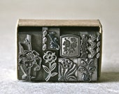 Vintage Letterpress Dingbats or Ornaments in Floral Designs for Printing Stamping and Decor