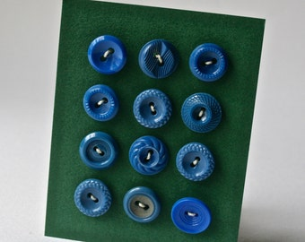 Blue Vintage Buttons in Assorted Designs for Sewing and Crafts