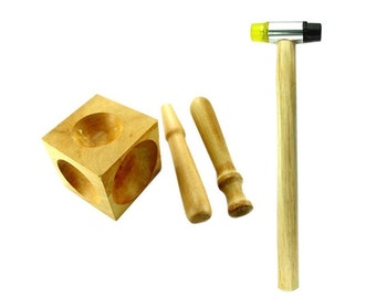 Mazbot Dapping KIT - 2 Wooden Punches and Doming Block with Nylon Head Mallet JSET52