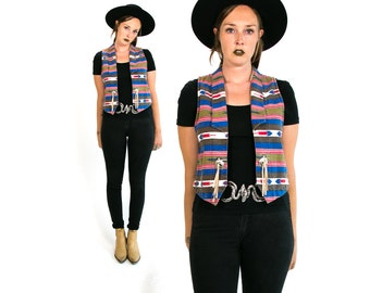 Vintage 1980's 1990's Southwest Vest with Leather Tassels Western Wear Women's Size Small Medium Made in the USA