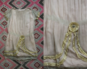 Vintage 1920's Silk Chiffon Flapper Dress Ruffled 20's Drop Waist Women's Small Feminine/Romantic/Great Gatsby