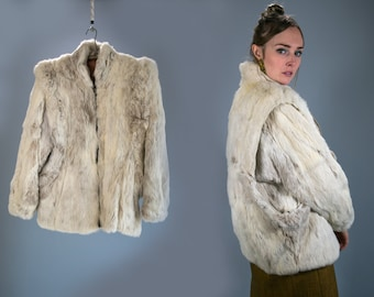 Vintage 1970's Rabbit Fur Coat Zip Up White High Fashion Luxury Bohemian Chic Women's Size Medium Hollywood Regency Hipster