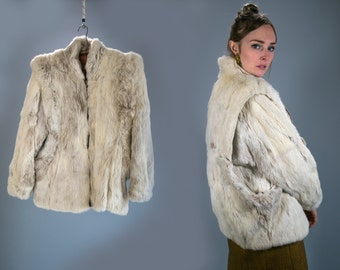 Vintage 1970's Rabbit Fur Coat Zip Up White High Fashion Luxury Bohemian Chic Women's Size Medium Hollywood Regency Hipster