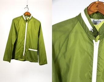 Vintage 70's SURFER Brand Sheer Green Windbreaker Spring Summer Jacket Men's Retro Hipster California Nylon Men's Size Medium Vtg Vg