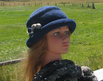 Knit Felt Brimmed Bowler Crusher Hat Midnight Blue Heather Mod Pin