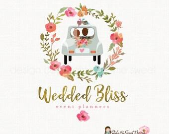wedding logo design event planner logo photography logo watercolor flower logo gold logo design premade logo bride and groom logo watermark