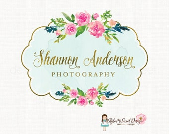 watercolor flower logo with frame premade logo design photography logo bespoke logo florist logo design boutique logo design watermark logo