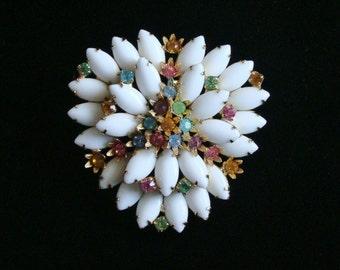 Vintage White Rhinestone Brooch, 3 Tiers, Pastel Rhinestone, Vintage Jewelry, Large Brooch, 1950s Brooch, Rhinestone Pin, Estate Jewelry