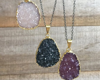 Druzy Necklace, Drusy Necklace, Two Tone Necklace, Gold and Silver Necklace, Mixed Metal Necklace, Raw Stone Necklace