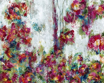 """Wildflowers, abstract floral canvas, painting, flowers, art, 3/4"""" thick canvas print"""
