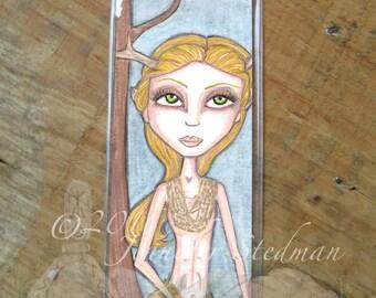 Golden deer, Faun, Fantasy art bookmark, big eyes, doe, flaxen haired big eyed beauty