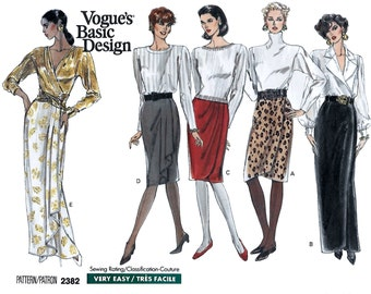 Vogue 2382 Basic Design Straight Skirt Below Mid-Knee or Evening Length Sewing Pattern Size 12 to 16 Hip 36 to 40