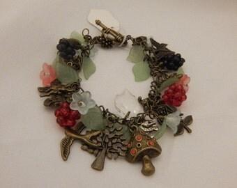 Autumn Woodland Brambles & Berries Charm Bracelet