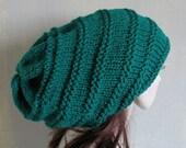Slouchy Beanie Hat Rasta Black Red Yellow Green Knit Hat Oversize Unisex XXL Tam Large Slouchy Hat Dreadlock Hat  Dreadlock Snood Locs