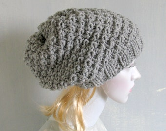Womens Hat Slouchy Beanie Slouch Hats Oversized Baggy cabled hat womens accessory GREY Hand Made Knit  Slouchy Beanie Women Knit Hat