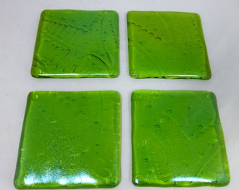 Fused Glass Coasters Iridescent Spring Green Fern Frond Pattern - set of four