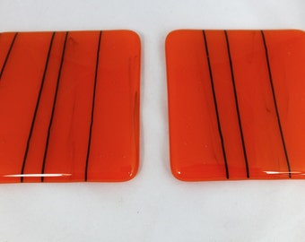 Fused Glass Coasters rich orange with black detail design - set of two MTO