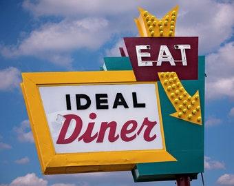 Ideal Diner Sign Neon Art Print | Minneapolis Art | Retro Decor