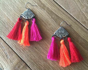 Tassel Earrings - Tribal Neon Boho