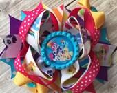 Boutique Baby Girls Layered My Little Pony Chevron Hair Bow Clip, Rainbow Dash Hair Bow, My little pony Rainbow Dash Bow