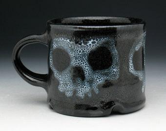 Skull Coffee Mug, Spotted Triple Zombie Skulls Tea Cup