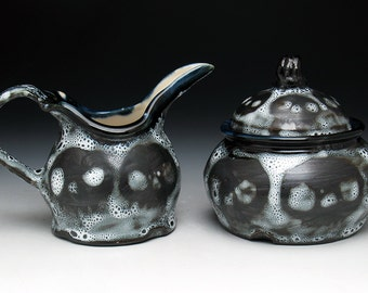 Skull Creamer & Sugar Bowl Set, Black and White Spotted Glaze Cream and Sugar Set, Gothic Skulls Wedding Gift