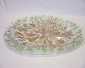 Vintage Dorothy Thorpe Hand painted Pebble Glass 2 Section Chip/Dip Tray