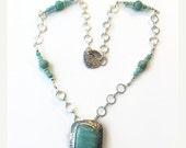 ON SALE Amazonite necklace, silver necklace, Amazonite pendant, blue amazonite