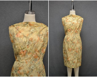 1960s Yellow Floral Chiffon Dress with Cowl Back
