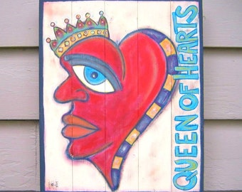 Queen of Hearts, Original Acrylic Painting on Wood, Wall Decor, Sign Art, Urban Art, Outsider Art, by Fig Jam Studio