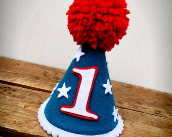First Birthday Hat, Super Hero Birthday Hat, Red White and Blue Birthday Hat, Felt Birthday Hat, 4th of July Hat : Super Hero Hat