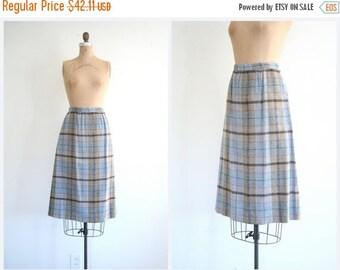 20% SALE vintage 1960s . 70s campus skirt - soft dusty plaid skirt / Slate Blue - 60s plaid skirt - preppy wool skirt / A line - ladies xs