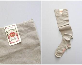 NOS 1920s flapper back seam stockings - seamed & french heel / Mushroom Gray - taupe / vintage ladies hosiery - antique 20s OTK stockings